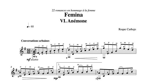 Anemone guitare seule partition
