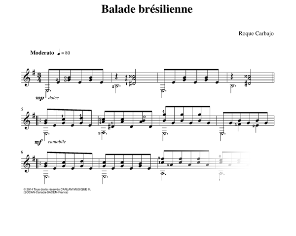 Balade bresilienne guitare seule partition