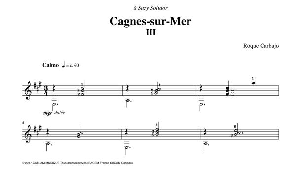Cagnes-sur-mer guitare seule partition