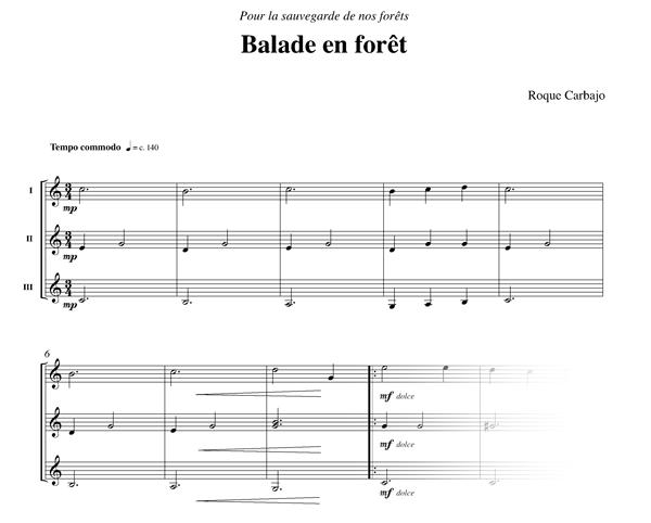 La balade en forêt 3 guitares partition