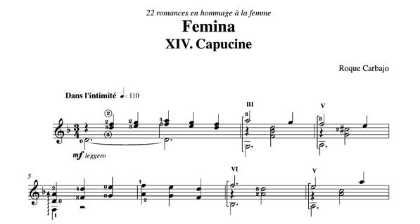 Capucine guitare seule partition