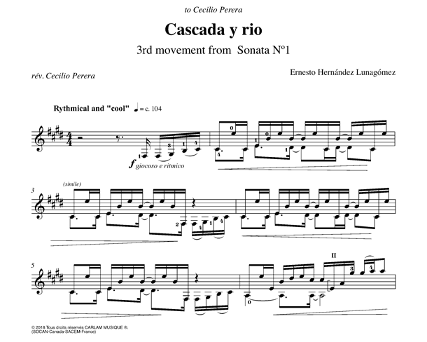 Cascada y rio guitare seule partition