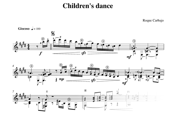 Children's dance guitare seule partition