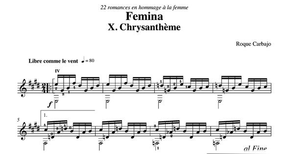 Chrysantheme guitare seule partition