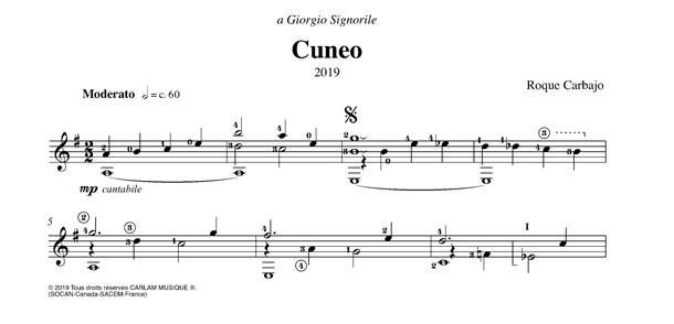 Cuneo guitare seule partition