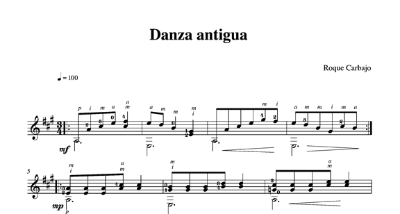 Danza antigua guitare seule partition