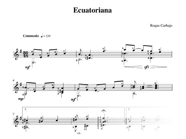 Ecuatoriana guitare seule partition