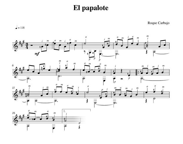El papalote guitare seule partition
