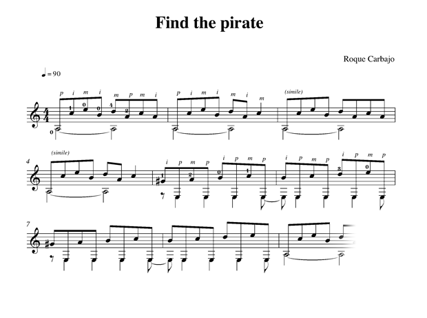 Find the pirate guitare seule partition