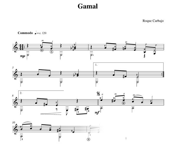 Gamal guitare seule partition