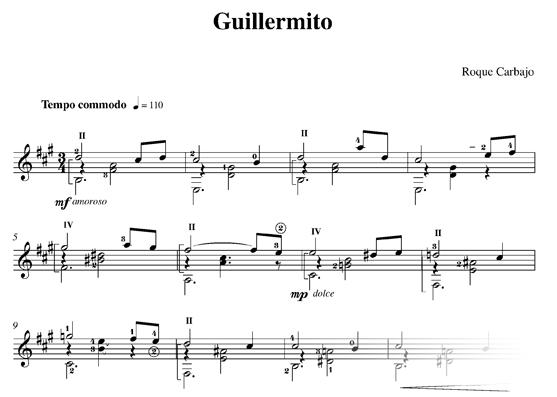 Guillermito guitare seule partitiontition