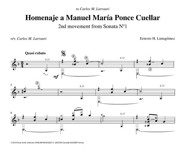 Homenaje a Manuel Maria Ponce Cuellar guitare seule partition
