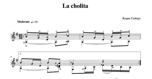 La cholita guitare seule partition