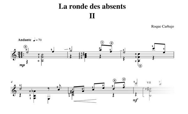 La ronde des Absents 2 guitare seule partition