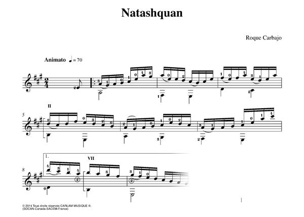 Natashquan guitare seule partition