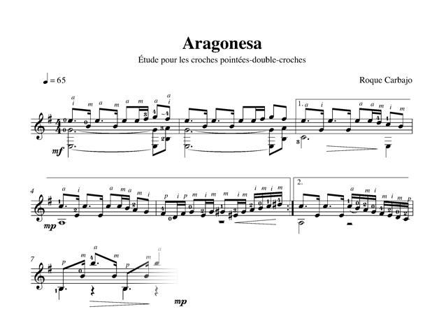 Aragonesa guitare seule partition