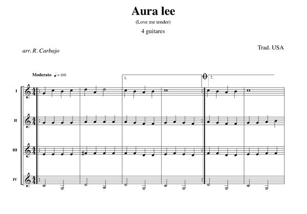 Aura Lee 4 guitares partition