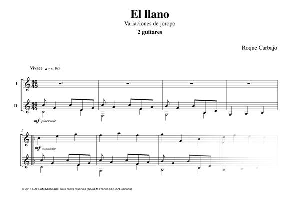 El llano 2 guitares partition