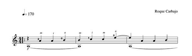 Étude 1 en la mineur guitare seule partition