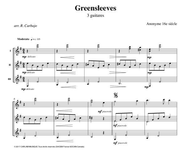 Greensleeves 3 guitares partition