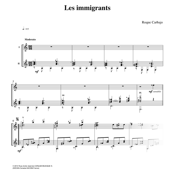Les immigrants 2 guitares partition
