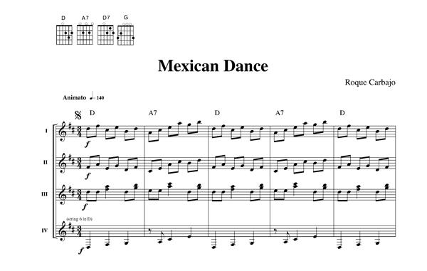 Mexican dance 4 guitares partition