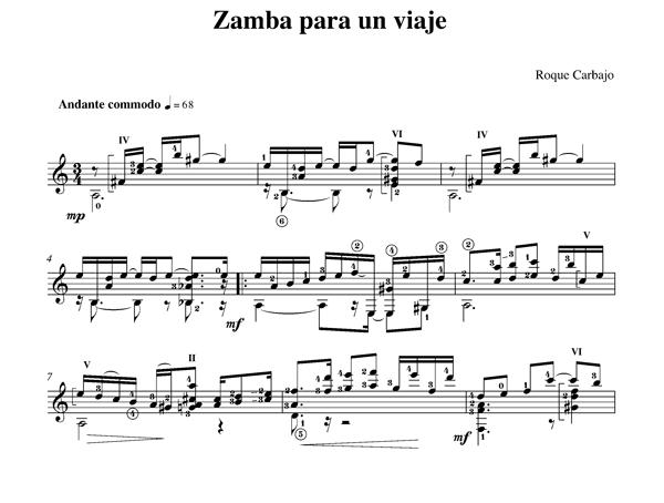 Zamba para un viaje guitare seule partition