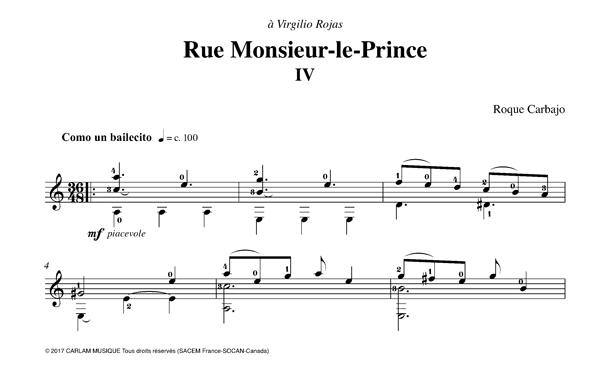 Rue Monsieur-le-Prince guitare seule partition