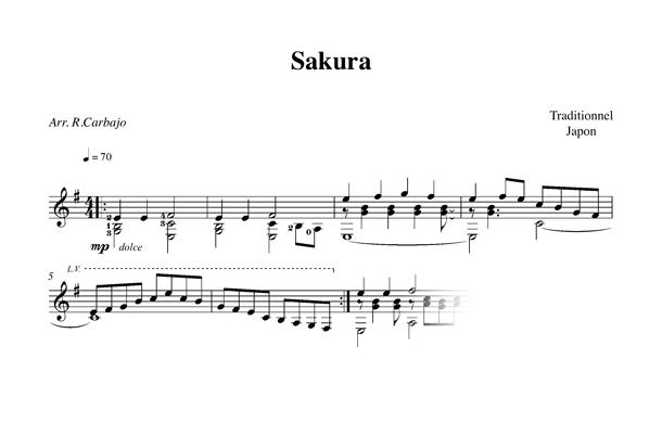 Sakura guitare seule partition