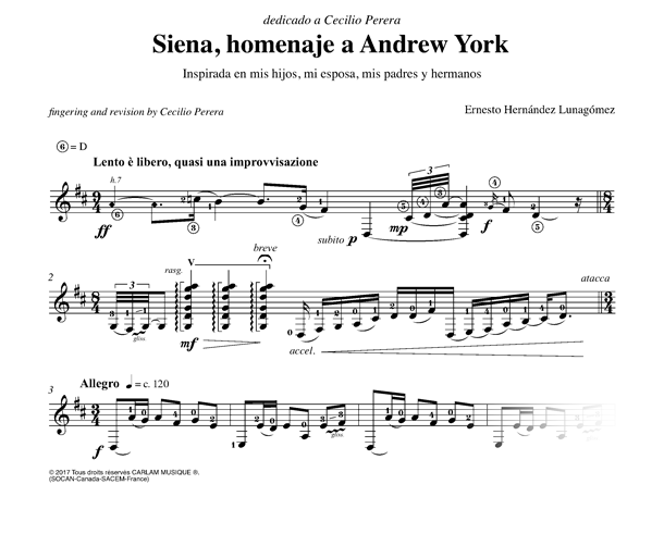 Siena, homenaje a Andrew York guitare seule partition