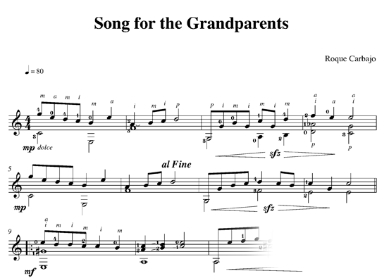 Song for the grandparents guitare seule partition
