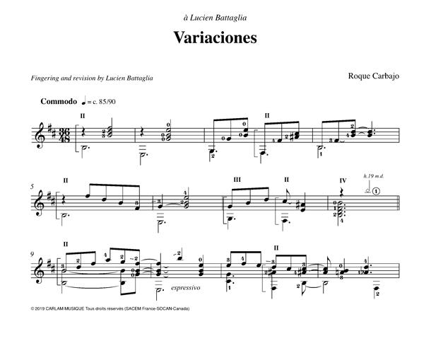 Variaciones guitare seule version lucien battaglia partition