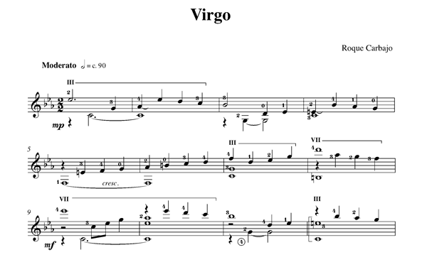 Virgo guitare seule partition