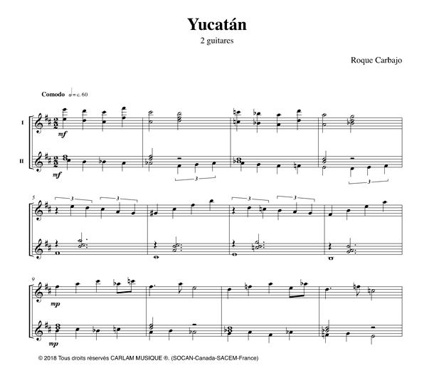 Yucatán 2 guitares partition