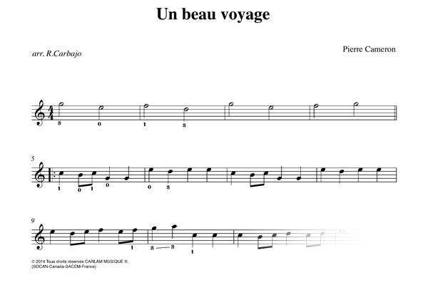 Un beau voyage karaoké guitare piste audio partition