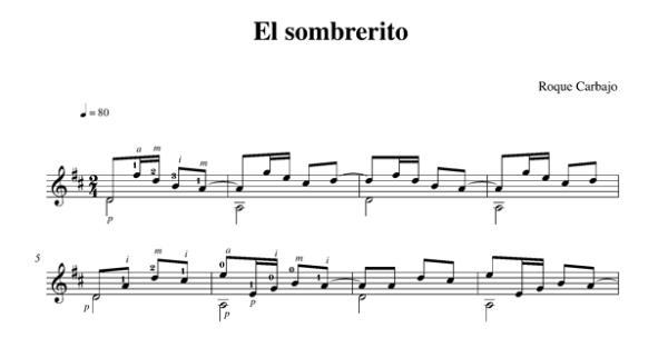 El sombrerito karaoké guitare piste audio partition