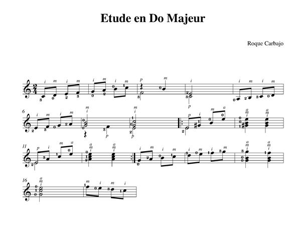 Étude en do majeur guitare seule partition