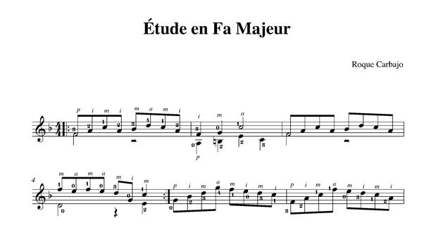 Étude en fa majeur guitare seule partition