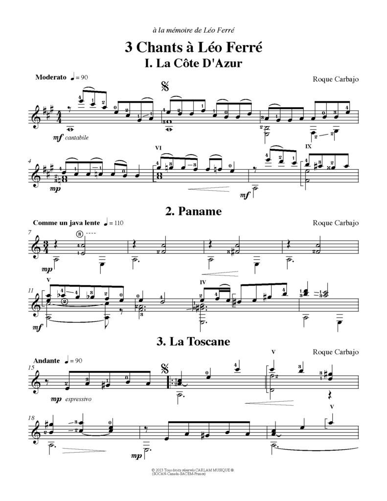 3 chants à Léo Ferré guitare seule partition