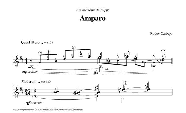 Amparo guitare seule partition