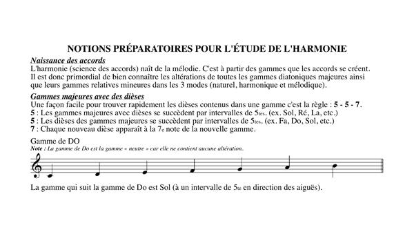 Chapitre 1 Notions préparatoires pour l'étude de l'harmonie