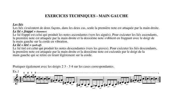 Méthode harmonisation et improvisation, Chapitre 16 Exercices techniques-main gauche