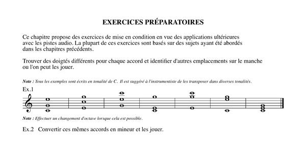 Méthode harmonisation et improvisation, Chapitre 19 Exercices préparatoires