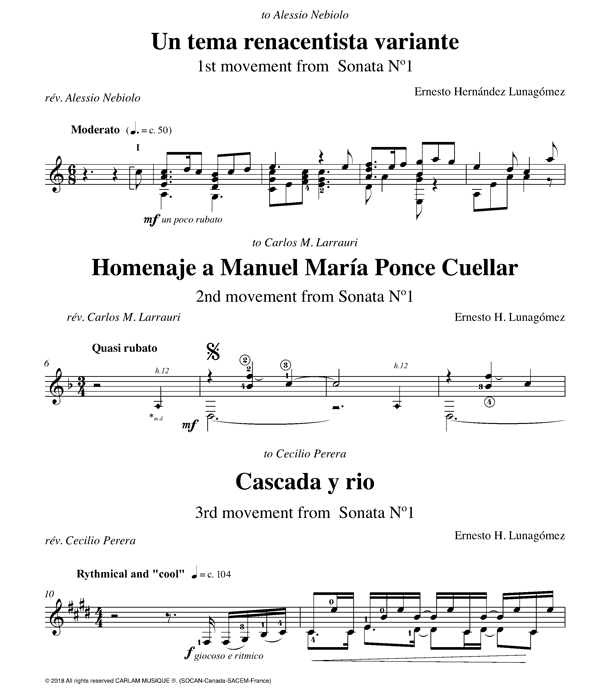 Sonata 1 guitare seule partition