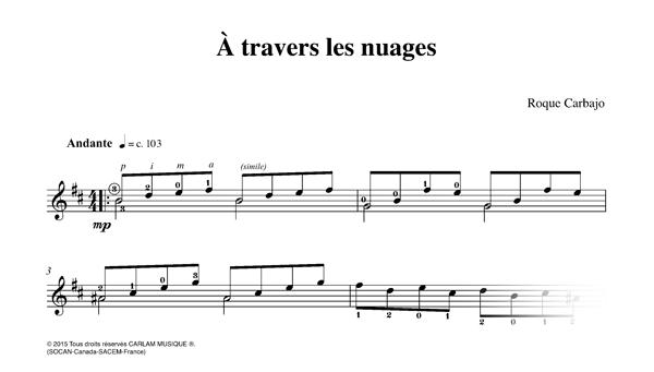 À travers les nuages karaoke guitar score
