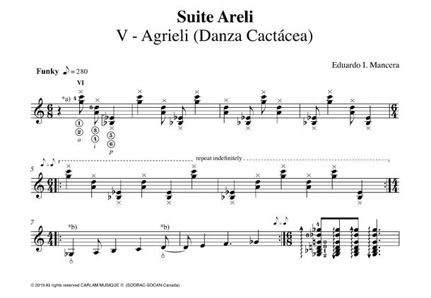 Agrieli solo guitar score