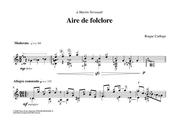 Aire de folclore solo guitar score