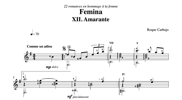Amarante solo guitar score