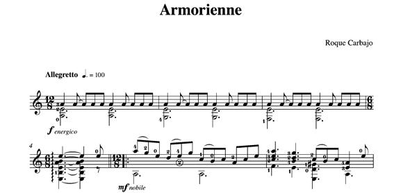 Armorienne solo guitar score