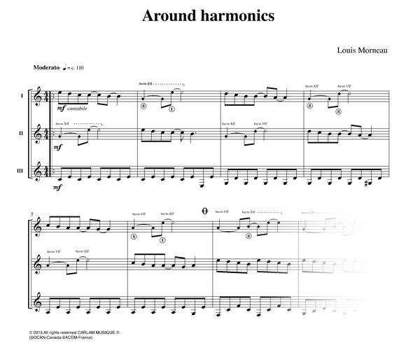 Around harmonics 3 guitarras partitura